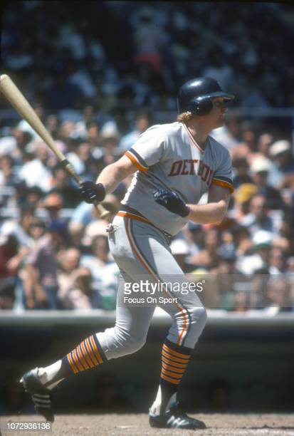 Rusty Staub of the Detroit Tigers bats against the New York Yankees during an Major League Baseball game circa 1978 at Yankee Stadium in the Bronx...