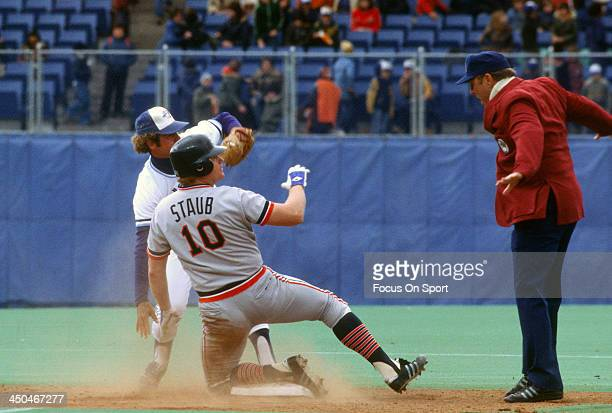 Rusty Staub of the Detroit Tigers steals second base against the Toronto Blue Jays during an Major League Baseball game circa 1979 at Exhibition...