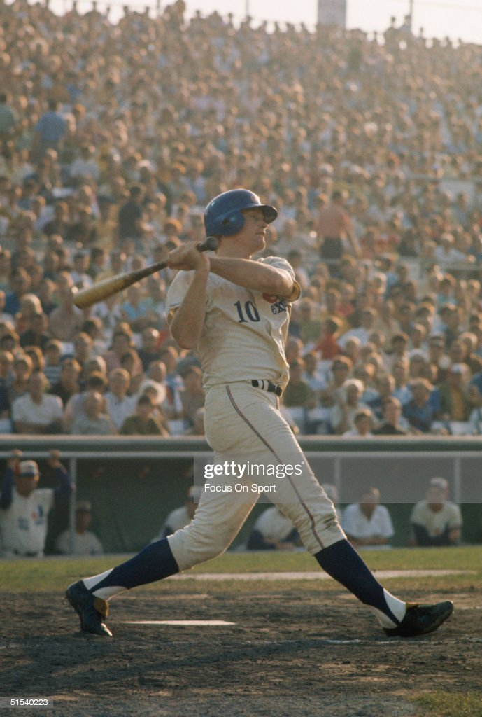 Rusty Staub of the Montreal Expos completes his swing at Jerry Park in Montreal in 1969.