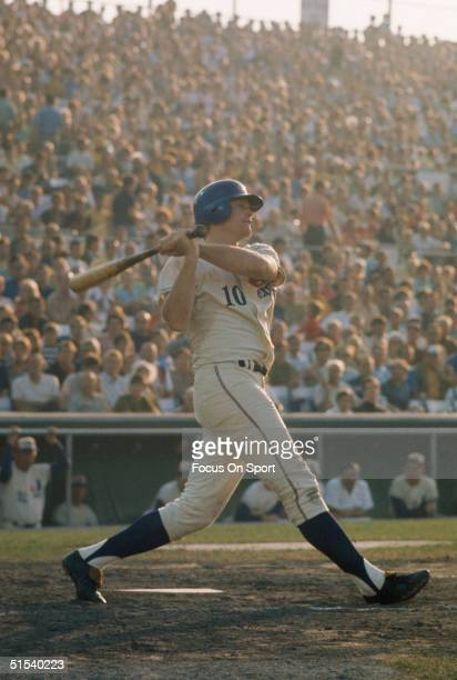 Rusty Staub of the Montreal Expos completes his swing at Jerry Park in Montreal in 1969