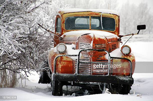 rusty truck in winter - old truck stock pictures, royalty-free photos & images