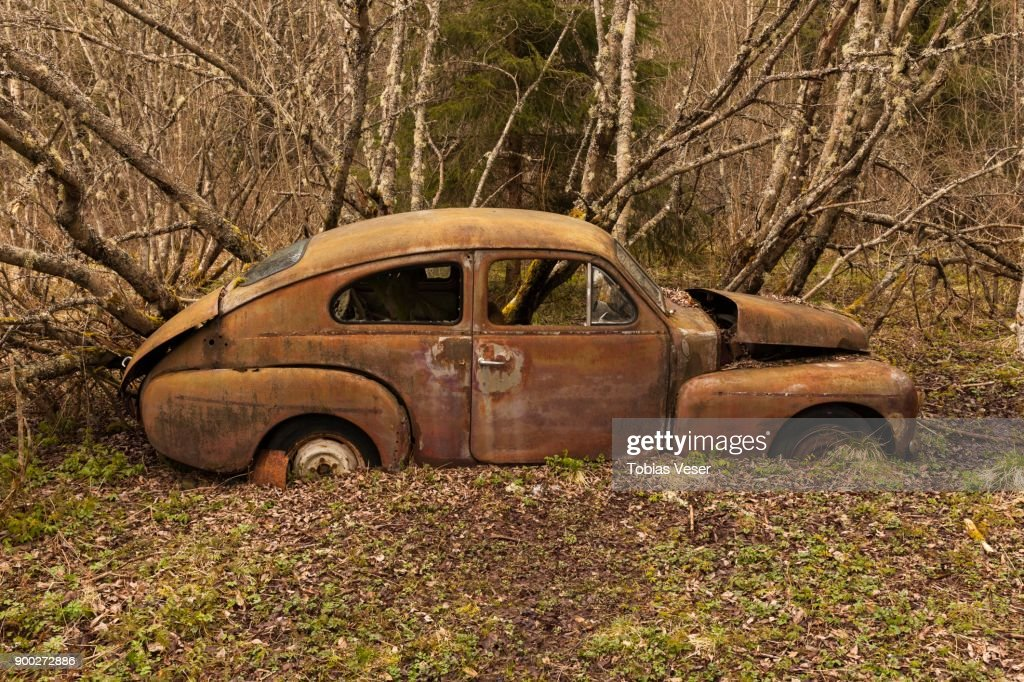 Rusty Vintage Car In The Woods Junk Car Car Junk Yard Bastnaes ...