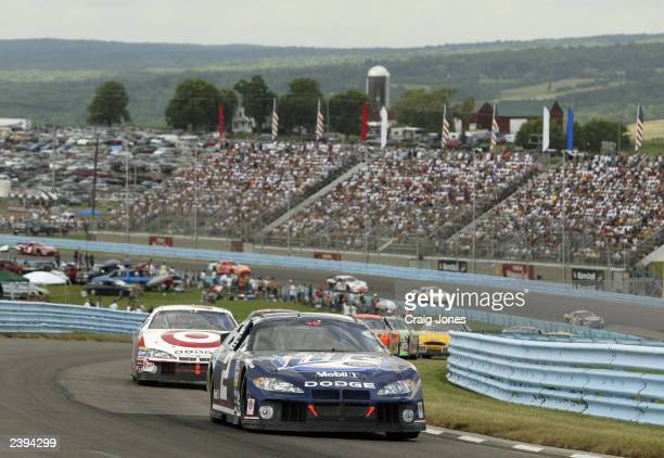 Rusty Wallace, driver of the Penske Racing Dodge Intrepid, drives during the Sirius at The Glen Winston Cup Race on August 10, 2003 at Watkins Glen...
