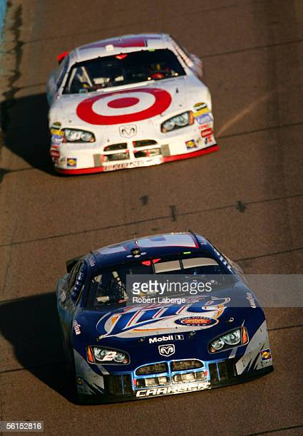 Rusty Wallace driver of the Penske Racing Miller Lite Dodge drives ahead of Casey Mears in his Target Chip Ganassi Racing Dodge during the NASCAR...