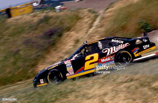Rusty Wallace drives the No 2 Miller Ford owned by Roger Penske in the Save Mart Supermarkets 300 roadcourse race on May 5 1996 at Sonoma Raceway in...