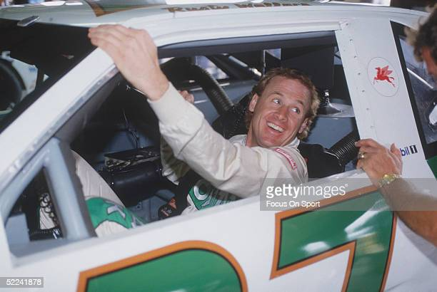 Rusty Wallace talks from the driver's seat of his Kodiak car during the Daytona 500 at the Daytona Speedway on February 19 1989 at Daytona Beach...