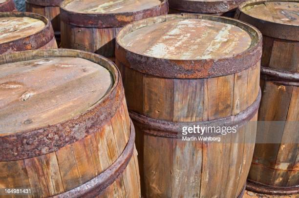 Rusty Wooden barrels