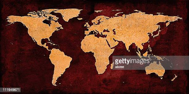 Rusty World Map on grungey red background