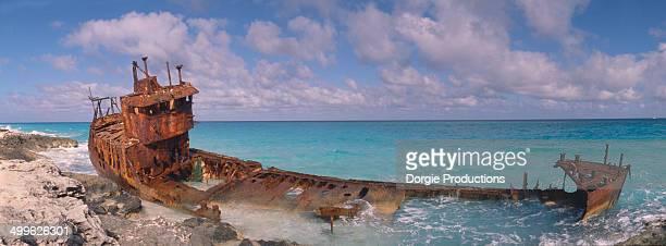 rusty wreck, bimini - bimini stock photos and pictures