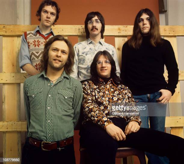 Rusty Young George Grantham Timothy B Schmit Paul Cotton and Richie Furay of Poco pose for a group portrait in 1973 in Amsterdam Netherlands