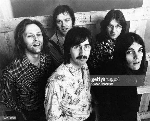 Rusty Young Richie Furay Paul Cotton George Grantham and Timothy B Schmit of Poco pose for a group portrait in 1973 in Amsterdam Netherlands