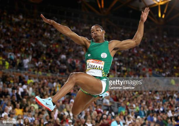 Ruswahl Samaai of South Africa competes in the Men's Long Jump finalduring athletics on day seven of the Gold Coast 2018 Commonwealth Games at...