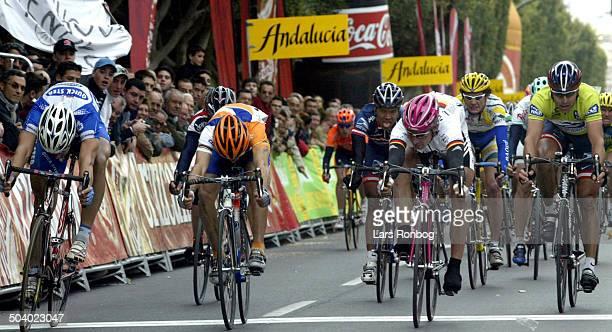 Ruta del Sol stage 5 - Erik Zabel, T-Mobile in front of Tom Boonen, Quick-Step - Oscar Freire, Rabobank - Max van Heeswijk, US Postal.