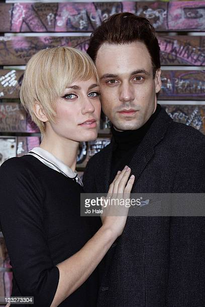 Ruta Gedmintas and Nick Blood of new London Theatre Show Backbeat pose outside Abbey Road Studios on September 1 2011 in London England