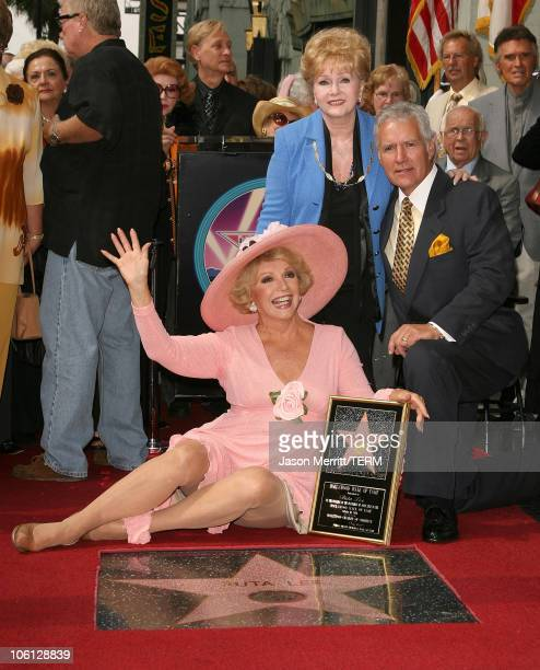 Ruta Lee with Debbie Reynolds and Alex Trebek during Ruta Lee is Honored with a Star on the Hollywood Walk of Fame at Hollywood Boulevard in...