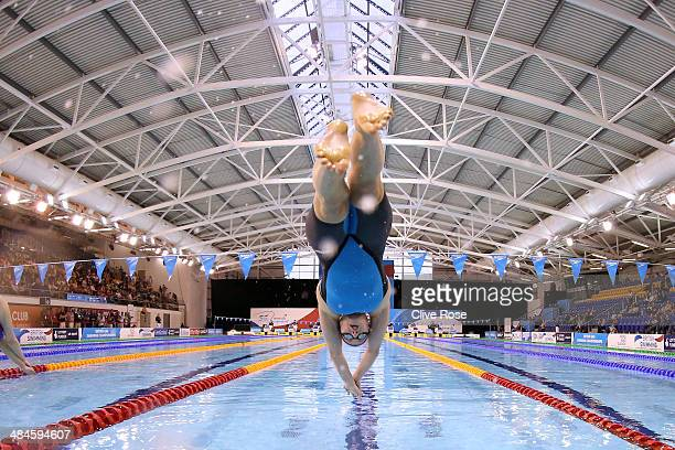 Ruta Meilutyte competes in the Women's 200m Breaststroke heats on day four of the British Gas Swimming Championships 2014 at Tollcross International...