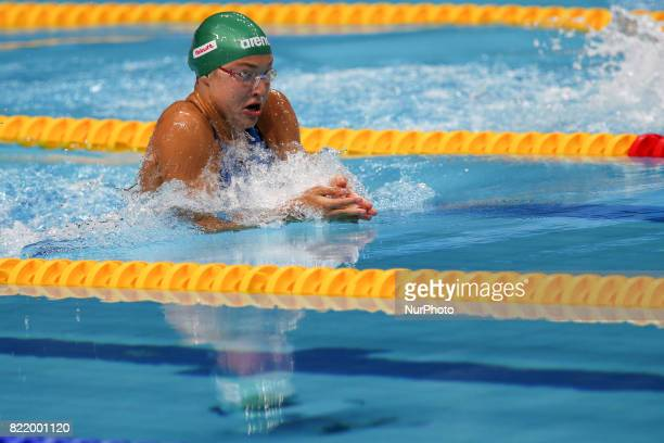 Ruta Meilutyte competes on Women's 100 m Breaststroke semifinal during the 17th FINA World Championships at Duna Arena in Budapest Hungary Day 11 on...