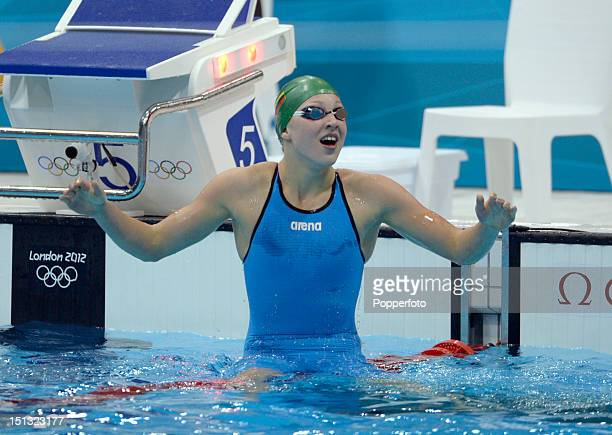 Ruta Meilutyte of Lithuania celebrates after winning the Final of the Women's 100m Breaststroke on Day 3 of the London 2012 Olympic Games at the...