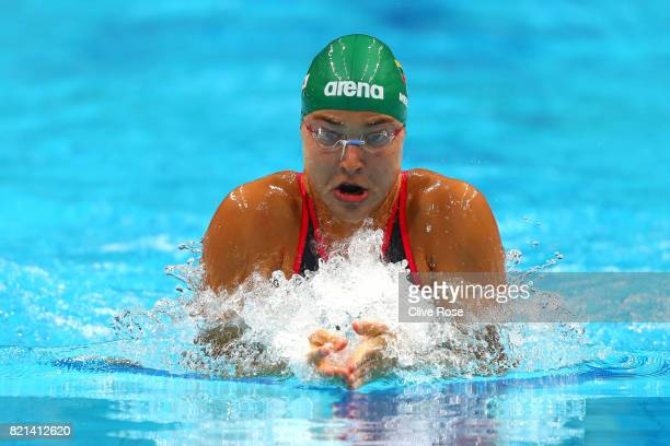 Ruta Meilutyte of Lithuania competes during the Women's 100m Breaststroke Heats on day eleven of the Budapest 2017 FINA World Championships on July...