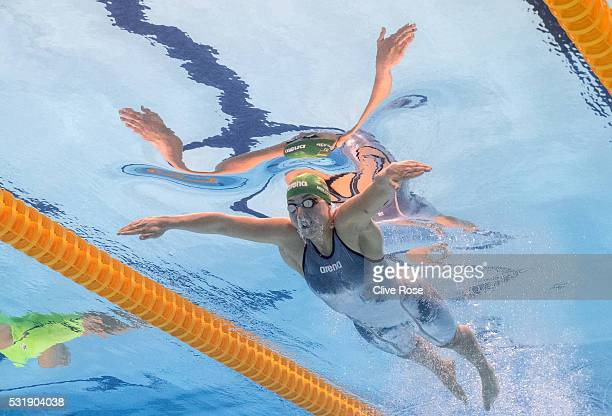 Ruta Meilutyte of Lithuania competes in the Women's 100m Breaststroke semi finals on day nine of the 33rd LEN European Swimming Championships 2016 at...