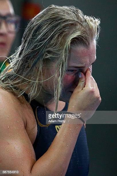 Ruta Meilutyte of Lithuania looks dejected after the Women's 100m Breaststroke Final on Day 3 of the Rio 2016 Olympic Games at the Olympic Aquatics...