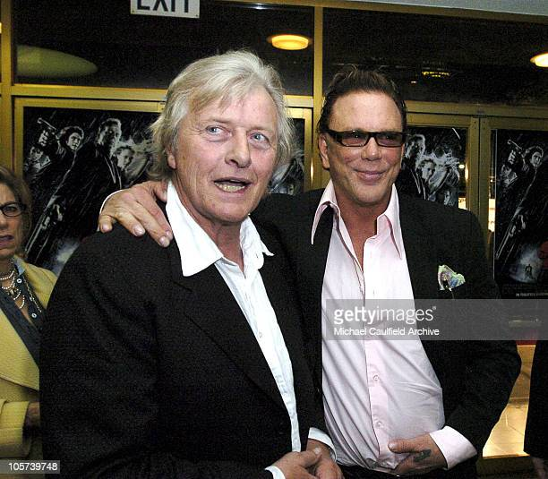 Rutger Hauer and Mickey Rourke during 'Sin City' Los Angeles Premiere Red Carpet at Mann National Theater in Los Angeles California United States