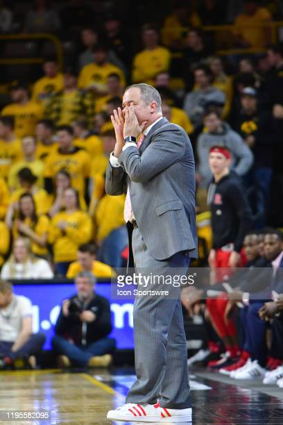 Rutgers head coach Steve Pikiell yells at his team in the first half during a Big Ten Conference basketball game between the Rutgers Scarlet Knights...