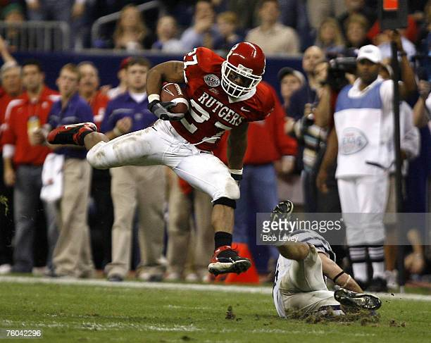 Rutgers running back Ray Rice leaps over a Kansas St. Defender during the first period. The Scarlet Knights beat the Panthers 37-10 in the inaugural...