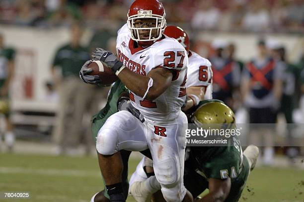 Rutgers running back Ray Rice rushes upfield against South Florida September 29, 2006 in Tampa. Rutgers won 22 - 20 to remain undefeated and Rice...