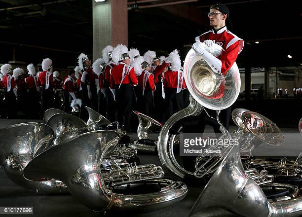 Rutgers Scarlet Knights band member looks on prior to the game against Iowa Hawkeyes at High Point Solutions Stadium on September 24 2016 in...