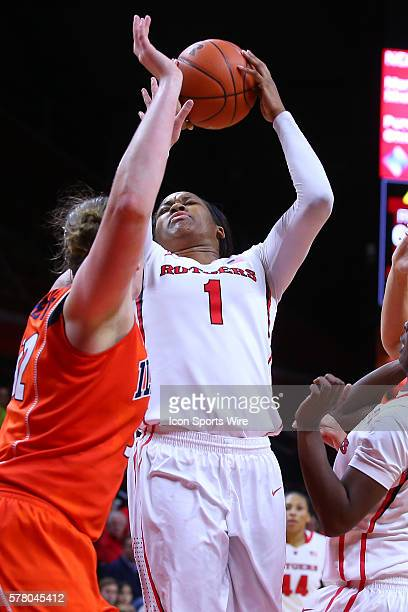 Rutgers Scarlet Knights center Rachel Hollivay during the second half of the game between the Rutgers Scarlet Knights and the Illinois Fighting...