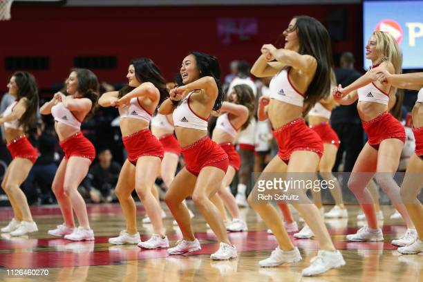 Rutgers Scarlet Knights cheerleaders perform during a game against the Indiana Hoosiers at Rutgers Athletic Center on January 30 2019 in Piscataway...
