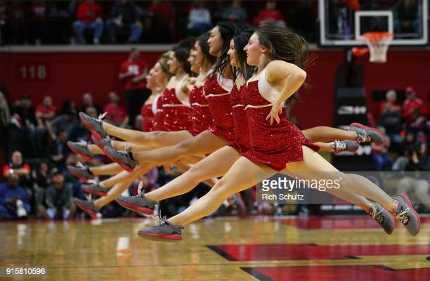 Rutgers Scarlet Knights cheerleaders perform during a game against the Indiana Hoosiers at Rutgers Athletic Center on February 5 2018 in Piscataway...