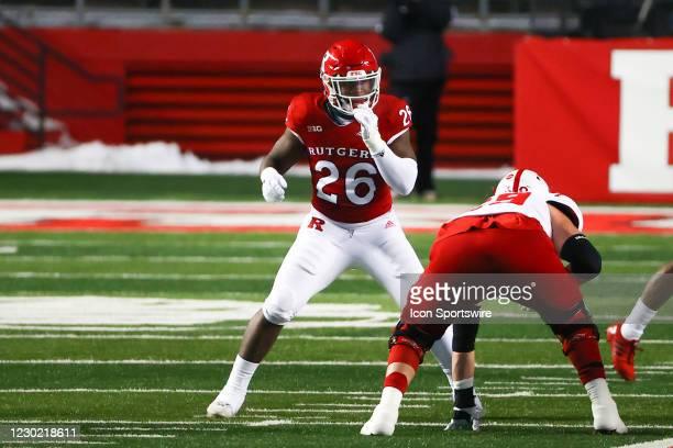 Rutgers Scarlet Knights defensive lineman CJ Onyechi during the college football game between the the Rutgers Scarlet Knights and the Nebraska...