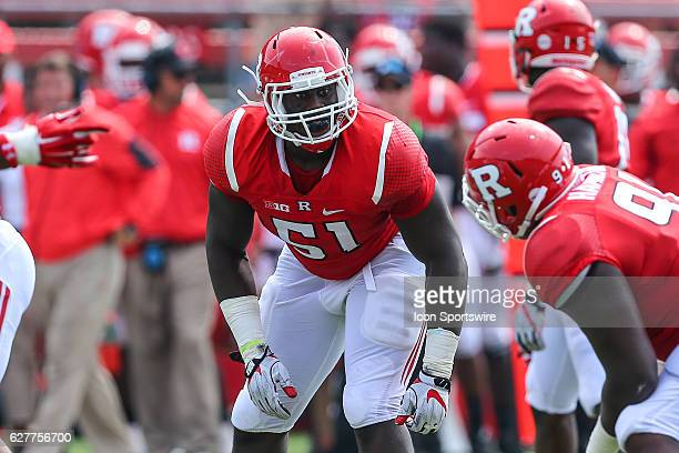 Rutgers Scarlet Knights defensive lineman Sebastian Joseph during the game between the Rutgers Scarlet Knights and the Howard Bison played at High...