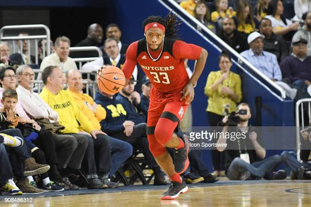 Rutgers Scarlet Knights forward Deshawn Freeman brings the ball up court for a fast break during the Michigan Wolverines game versus the Rutgers...