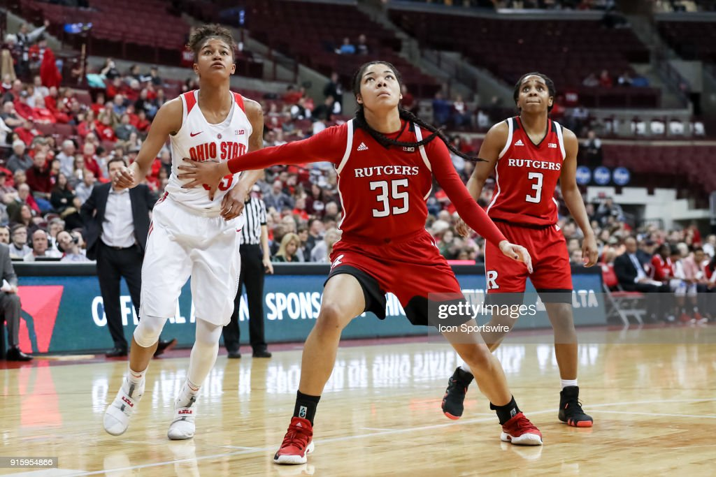 Rutgers Scarlet Knights forward Stasha Carey (35) boxes out Ohio State Buckeyes guard Jensen Caretti (33) in a game between the Ohio State Buckeyes and the Rutgers Scarlet Knights on February 08, 2018 at Value City Arena in Columbus, OH. The Buckeyes won 90-68.