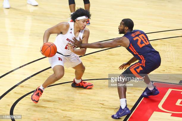 Rutgers Scarlet Knights guard Jacob Young during the college basketball game between the Rutgers Scarlet Knights and the Illinois Fighting Illini on...