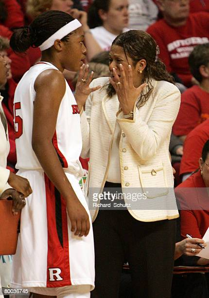 Rutgers Scarlet Knights' head coach C Vivian Stringer has words for freshman Judith Brittany Ray during the first half of game against the Duke Blue...