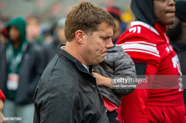 Rutgers Scarlet Knights head coach Chris Ash exits the field after the college football game between the Penn State Nittany Lions and Rutgers Scarlet...