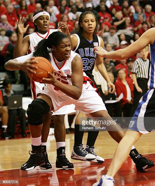 Rutgers Scarlet Knights' Kia Vaugn pulls in a rebound against the Duke Blue Devils during the first half the game at Rutgers Athletic Center in...