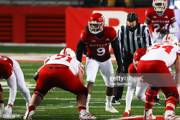 Rutgers Scarlet Knights linebacker Tyreek Maddox-Williams during the college football game between the the Rutgers Scarlet Knights and the Nebraska...