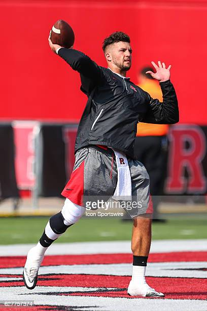 Rutgers Scarlet Knights quarterback Chris Laviano warms up prior to the game between the Rutgers Scarlet Knights and the Howard Bison played at High...