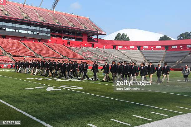 Rutgers Scarlet Knights walk the field prior to the game between the Rutgers Scarlet Knights and the Howard Bison played at High Point Solutions...