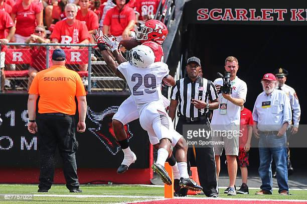 Rutgers Scarlet Knights wide receiver Andre Patton catches a touchdown over Howard Bison defensive back Yoseff Banks during the game between the...
