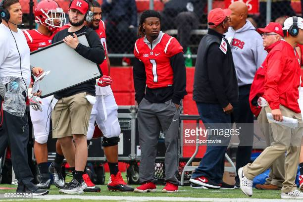 Rutgers Scarlet Knights wide receiver Janarion Grant on the sideline during the Rutgers Scarlet Knights Spring Football game played on April 22 2017...