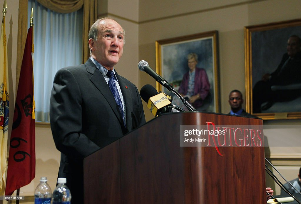 Rutgers University President Robert L Barchi addresses the media during a press conference at Rutgers University announcing the resignation of Athletic Director Tim Pernetti on April 5, 2013 in New Brunswick, New Jersey. Pernetti resigned after the firing of the basketball coach Mike Rice for abusive conduct toward players.