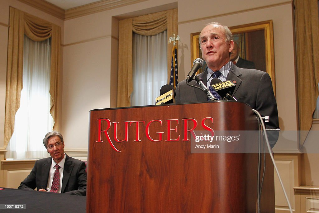 Rutgers University President Robert L. Barchi (R) addresses the media as Rutgers University Board of Governors Chair Ralph Izzo looks on during a press conference at Rutgers University announcing the resignation of Athletic Director Tim Pernetti on April 5, 2013 in New Brunswick, New Jersey. Pernetti resigned after the firing of the basketball coach Mike Rice for abusive conduct toward players.