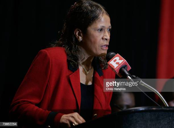 Rutgers University women's basketball team head coach Vivian Stringer speaks at a news conference at the school's basketball arena April 10 2007 in...