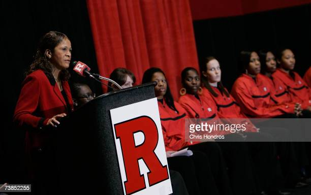Rutgers University women's basketball team head coach Vivian Stringer speaks as members of the team look on at a news conference at the school's...